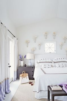 A collection of coral is on display on the wall behind the bed