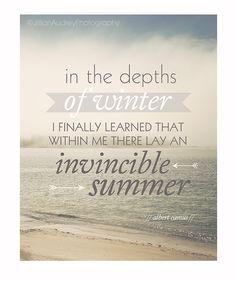 Invincible Summer Quote Print Beach Ocean Photography 8x10 Typography Print Albert Camus Quote Modern Minimalist Decor Literary (25.00 USD) by JillianAudreyDesigns