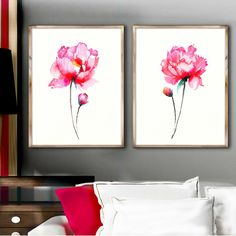 Set of 2 Watercolor Peonies Shabby Chic Home Decor Pink Wall Painting Abstract Flower Peony Art Print z6