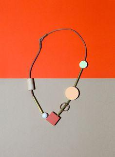 Bloc Necklace / Ladies And Gentlemen Studio / Styled by Ashley Helvey Photo Jewelry, Jewelry Art, Beaded Jewelry, Jewelry Accessories, Jewelry Necklaces, Fashion Jewelry, Jewelry Design, Jewlery, Contemporary Jewellery