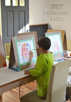 Quick and easy way to make your own DIY table easel with cardboard. Fun for kids doing art projects!