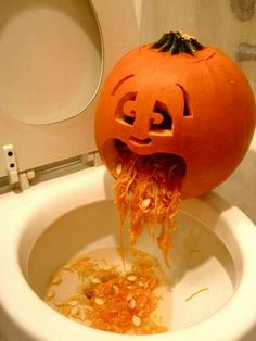 Halloween Decorated Pumpkin: carved, sick, throwing up