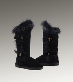 Christmas PROMOTION,  #Cheap #UGG #BOOTS from #UGGCLAN, UGG Fox Fur Tall 1984 Black Boots For Sale In UGG Outlet - $95.00 Save more than $100, Free Shipping, Free Tax, Door to door delivery