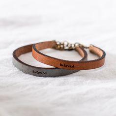 """""""Beloved"""" Leather Bracelet - I love leather jewelry Body Jewelry, Jewelry Gifts, Fine Jewelry, Jewelry Making, Jewelry Ideas, Jewelry Box, Leather Cuffs, Leather Jewelry, Leather Bracelets"""