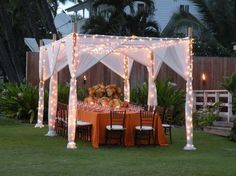 A gorgeous Maui wedding cabana at the White Orchid Beach House.
