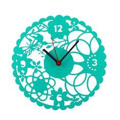 Relógio Parede Romantique Turquesa - Col. Exclusiva