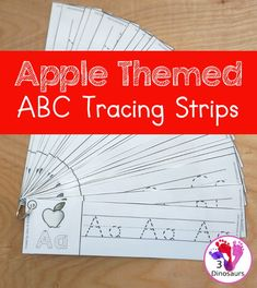 Free Apple Theme ABC Tracing Strips - with uppercase and lowercase together. You have fun kids with an apple plus you can see an example of how to trace the letters - 3Dinosaurs.com #abcprintables #lettertracing #3dinosaurs #freeprintable Abc Tracing, Tracing Letters, Uppercase And Lowercase Letters, Apple Activities, Preschool Learning Activities, Autumn Activities, Weather Science, Counting For Kids, Alphabet Pictures