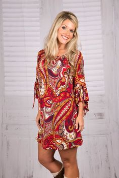 Painted in Paisley Tunic/Dress - Burgundy/Mustard