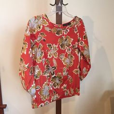 The Limited blouse Rusty orange color  with green flowers XS 100% polyester The Limited Tops Blouses