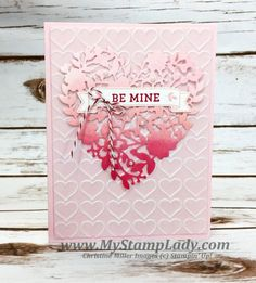 Love This Ombre Bloomin' Heart! Stampin' Up! Stampin' Up! My Funny Valentine, Valentine Love Cards, Valentine Crafts, Printable Valentine, Homemade Valentines, Valentine Wreath, Valentine Ideas, Wedding Anniversary Cards, Wedding Cards