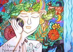 """This is an open edition ACEO print based on my original watercolour painting called """"Earth awakening """". Portraying mother earth awaking from her dream into summer and spring. Printed on paper with slight surface resembling watercolour paper. Colors are just as vivid as in the original. Perfect add to your ACEO collection! Size: 2,5 x 3,5 inches."""