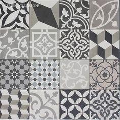 Cement Tile Shop - Encaustic Cement Tile Patchwork Black and White-alternative floor renovate upgrade Kitchen Redo, Kitchen Backsplash, Kitchen Floor, Tile Patterns, Floral Patterns, Tile Design, Bathroom Inspiration, Cool Kitchens, Decoration