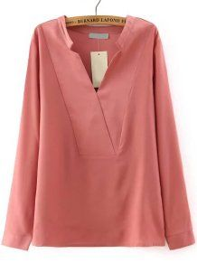 Casual Pink V Neck Long Sleeve Loose Casual Blouse