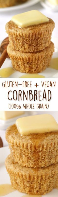 The best gluten-free and vegan cornbread muffins! Can also be made as bread and is 100% whole grain and dairy-free. #BeingVegan