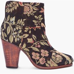 RAG & BONE Black Floral Canvas Newbury Boots ($495) ❤ liked on Polyvore