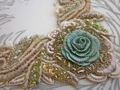Bronze/Aqua necklace   Flickr - Photo Sharing! Textile Jewelry, Embroidery Jewelry, Ribbon Embroidery, Lace Applique, Beaded Embroidery, Cross Stitch Embroidery, Embroidery Patterns, Beaded Jewelry, Jewellery