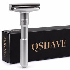 Qshave Adjustable Safety Razor Double Edge Classic Safety Razor Gift Box Pack Mild to Aggressive 1-6 Files , 1 handle & 5 blades