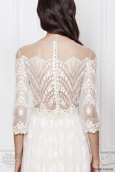 divine atelier 2016 bridal gowns scalloped sheer off the shoulder plunging sweetheart neckline 3 quarter sleeves fully embellished bohemian lace sheath wedding dress sheer back (aimee) zbv