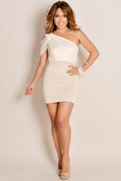Ivory White Charmingly Elegant Asymmetrical One Shoulder Sheer Bandage Cocktail Dress - Cocktail Dresses - All Dresses