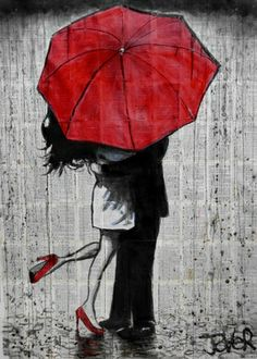 "Saatchi Art Artist Loui Jover; Drawing, ""big red umbrella"" #art"