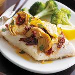 One of the easiest, healthy and very flavourful ways too cook fish! So Yummy! Roasted Fish with Artichokes and Sun-Dried Tomatoes recipe - Canadian Living Fish Recipes, Lunch Recipes, Seafood Recipes, Healthy Recipes, Healthy Food, Recipies, Dinner Recipes, Fish Dishes, Seafood Dishes