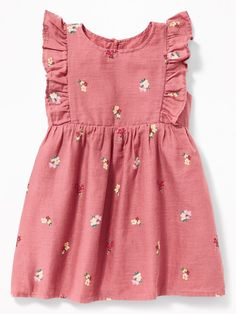 Such a sweet little baby dress from Old Navy. I love this dress for spring and s… Such a sweet little baby dress from Old Navy. I love this dress for spring and summer! Ruffle-Trim Crepe Dress for Baby Dresses Kids Girl, Kids Outfits Girls, Toddler Outfits, Girl Outfits, Dress Girl, Dresses For Babies, Baby Girl Clothes Summer, Girls Spring Dresses, Baby Dress Design