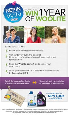 Repin for a chance to win! Win a Year of Woolite® contest details here: http://woolite.us/woolitewashed/