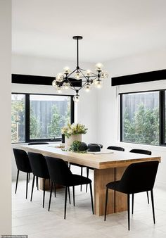 Modern Dining Room Picture Display Home Furniture Fitout & Styling Modern Dining Timber Dining Table, Modern Dining Table, Dining Table Lighting, Black Dinning Room Table, Large Dining Tables, Modern Dinning Room Ideas, Chairs For Dining Table, Dining Room Feature Wall, Beige Dining Room