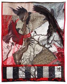 """""""A Murder of Crows"""" fiber art by Jill Kerttula, a combo of original photo, hand…"""
