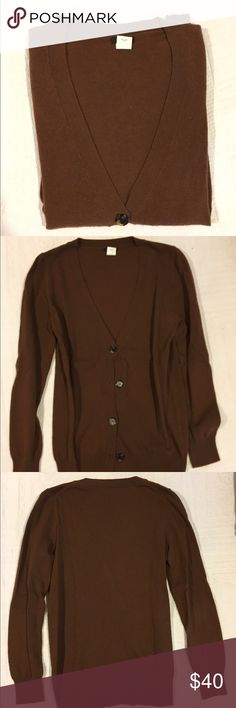 J. Crew Cardigan Previously worn classic brown Cardigan. In good condition! Open to reasonable offers through feature! J. Crew Sweaters Cardigans