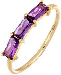 18K Gold Triple Baguette Amethyst Ring