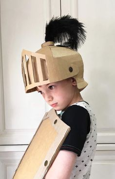 Fun knights helmet template and DIY costume made out of cardboard by Zygote Brown Designs Knights Helmet, Viking Helmet, Cardboard Costume, Cardboard Crafts, Diy Costumes, Halloween Costumes, Snowman Costume, Frankenstein Costume, Carton Diy