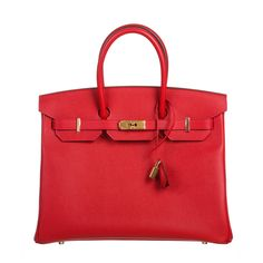 Hermes Red Epsom Leather 35cm Birkin Handbag GHW |