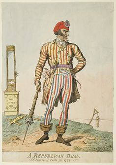 A Republican Beau - French Revolutionary Fashion Plate (Note the man hanging from the gallows in the  background)