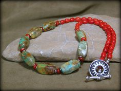 Turquoise Necklace  Beaded Necklace  Coral by StoneWearDesigns, $63.00