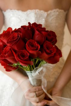 Long stemmed red rose bouquet.