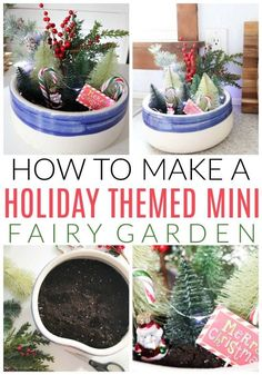 Inside: The quickest, easiest holiday themed miniature fairy garden! Using craft supplies and faux greenery, this project will bring a little extra hygge into your decor. Easy Diy Christmas Gifts, Christmas Craft Projects, Christmas Ideas, Modern Christmas, Holiday Ideas, Diy Garden Projects, Diy Garden Decor, Garden Ideas, Christmas Garden Decorations