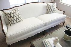 White with dark wood trim