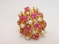 LADIES RUBY AND PEARL RING.  14K YELLOW GOLD #Cluster