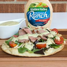 Southwest Steak Pizza with Naan Bread and Spicy Avocado Ranch Dressing