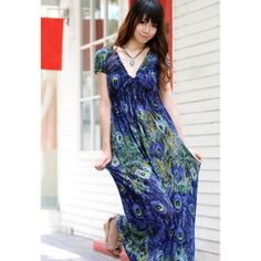 Charming Peacock Pattern Elastic Waist Plunging Neck Short Sleeves Rayon Maxi Dress For Women, BLUE, FREE SIZE in Maxi Dresses | DressLily.com