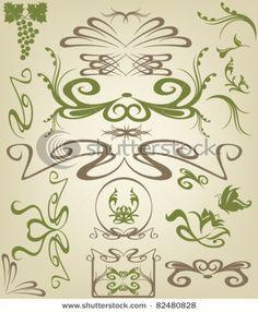 Illustration of Art Nouveau design elements vector art, clipart and stock vectors. Motifs Art Nouveau, Design Art Nouveau, Art Nouveau Pattern, Bijoux Art Nouveau, Zentangle, Illustration Art Nouveau, Jugendstil Design, Arts And Crafts Movement, Vector Art