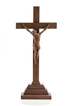 """Magnificent 18"""" Large French Antique early 1900's Wooden Altar Crucifix Jesus Christ Standing Religious Cross"""