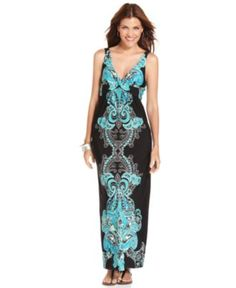 AGB Dress, Sleeveless Exotic-Print Twist Maxi - Womens Dresses - Macy's