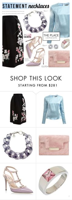 """""""Floral skirt.Statement necklace.Silk top - The Place London 4"""" by cly88 ❤ liked on Polyvore featuring Alice Archer, Valentino, Cartier and Nina"""