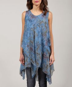 Look what I found on #zulily! Jean & Tan Anabelle Silk-Blend Handkerchief Tunic #zulilyfinds