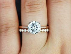 Rose gold band with a diamond and different wedding band. Still kind of want a halo around diamond tho! Engagement Ring Photos, Wedding Engagement, Round Solitaire Engagement Ring, Engagement Bands, Engagement Rings Gold Yellow, Simple Elegant Engagement Rings, Platinum Engagement Rings, Antique Engagement Rings, Different Engagement Rings