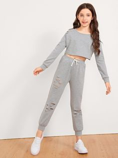Shop Girls Cut Out Front Top & Drawstring Waist Pants Set online. SHEIN offers Girls Cut Out Front Top & Drawstring Waist Pants Set & more to fit your fashionable needs. Girls Fashion Clothes, Kids Outfits Girls, Cute Girl Outfits, Tween Fashion, Cute Outfits For Kids, Teen Fashion Outfits, Teenage Girl Outfits, Cute Casual Outfits, Cute Clothes For Kids