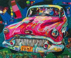 Vintage car quilt by Danny Amazonas . Nice job, Danny!   I think my family had a car like this when I was little. Yikes.   (Unfortunate... Collages, Collage Art, Quilting Projects, Quilting Designs, Dragonfly Art, Landscape Quilts, Contemporary Quilts, Quilted Wall Hangings, Mini Quilts