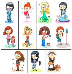 Desenho do Dia #142 a #152 - Garotas do Calendário - Soraia Casal